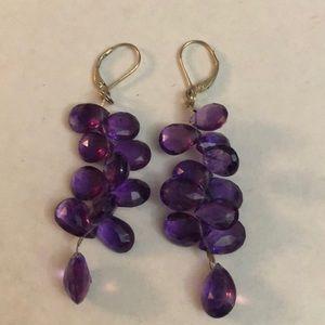 Vintage Amethyst cluster sterling 925  earrings